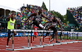 Kerron Clement competes on his way to placing first in the Men's 400 Meter Hurdles during the 2016 US Olympic Track Field Team Trials at Hayward...