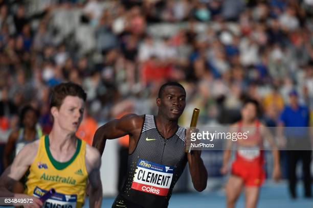 Kerron Clement of the Bolt All Stars and Luke Stevens of Australia competing in the Mixed 2000m Relay at Nitro Athletics at Lakeside Stadium on...