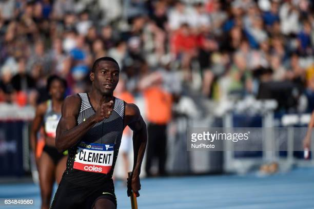 Kerron Clement of the Bolt All Stars competing in the Mixed 2000m Relay at Nitro Athletics at Lakeside Stadium on February 11 2017 in Melbourne...
