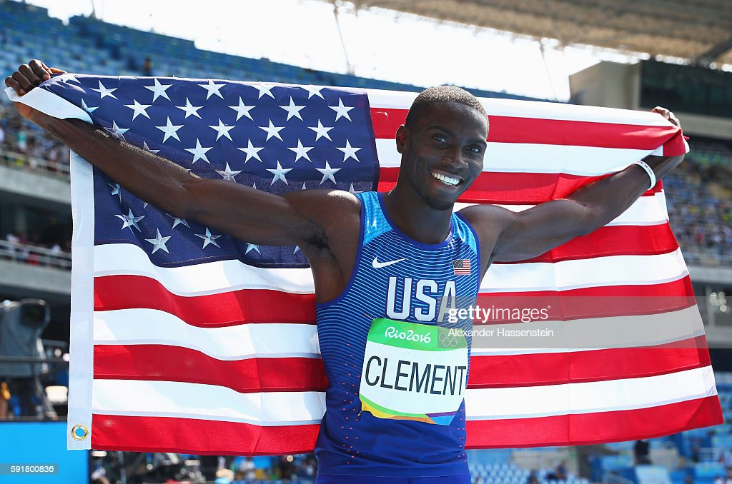Kerron Clement of the United States celebrates after placing first in the Men's 400m Hurdles Final on Day 13 of the Rio 2016 Olympic Games at the...