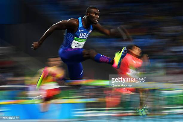 Kerron Clement of the United States competes during the Men's 400m Hurdles Semifinals on Day 11 of the Rio 2016 Olympic Games at the Olympic Stadium...
