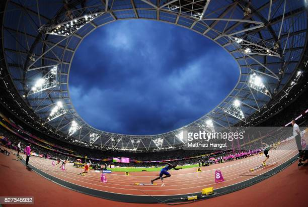 Kerron Clement of the United States competes in the Men's 400 metres hurdles during day four of the 16th IAAF World Athletics Championships London...