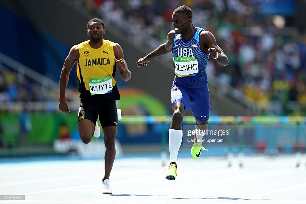 Kerron Clement of the United States leads Annsert Whyte of Jamaica during the Men's 400m Hurdles Final on Day 13 of the Rio 2016 Olympic Games at the...