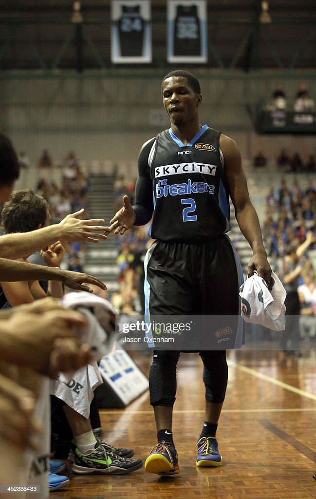 Kerron Johnson of the Breakers returns to the bench during the round eight NBL match between the New Zealand Breakers and the Melbourne Tigers at North Shore Events Centre on November 28, 2013 in Auckland, New Zealand.
