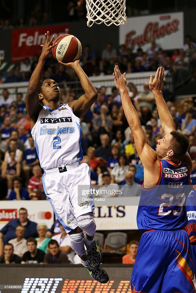 Kerron Johnson of the Breakers takes a shot during the round 19 NBL match between the Adelaide 36ers and the New Zealand Breakers at Adelaide Arena in February 23, 2014 in Adelaide, Australia.