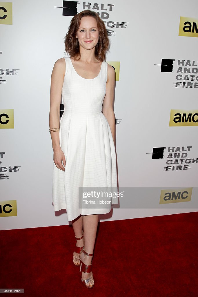 <a gi-track='captionPersonalityLinkClicked' href=/galleries/search?phrase=Kerry+Bishe&family=editorial&specificpeople=4584762 ng-click='$event.stopPropagation()'>Kerry Bishe</a> attends AMC's new series 'Halt And Catch Fire' Los Angeles premiere at ArcLight Cinemas on May 21, 2014 in Hollywood, California.