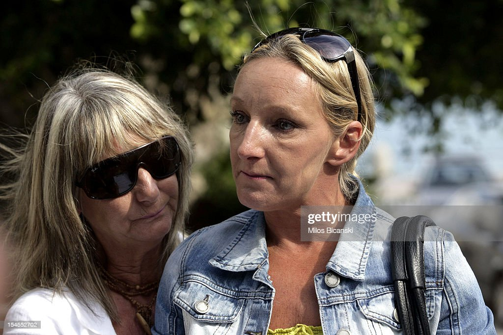 Kerry Grist (C) and her mother Christine Needham make a statement to the media as British police continue the search for Mrs Grist's son Ben Needham, who went missing 21 years ago, on October 22, 2012 in Kos, Greece. The toddler from Sheffield was 21 months old when he vanished on the Greek island in July, 1991. Specialist British search teams and Greek police started excavating the site last week.