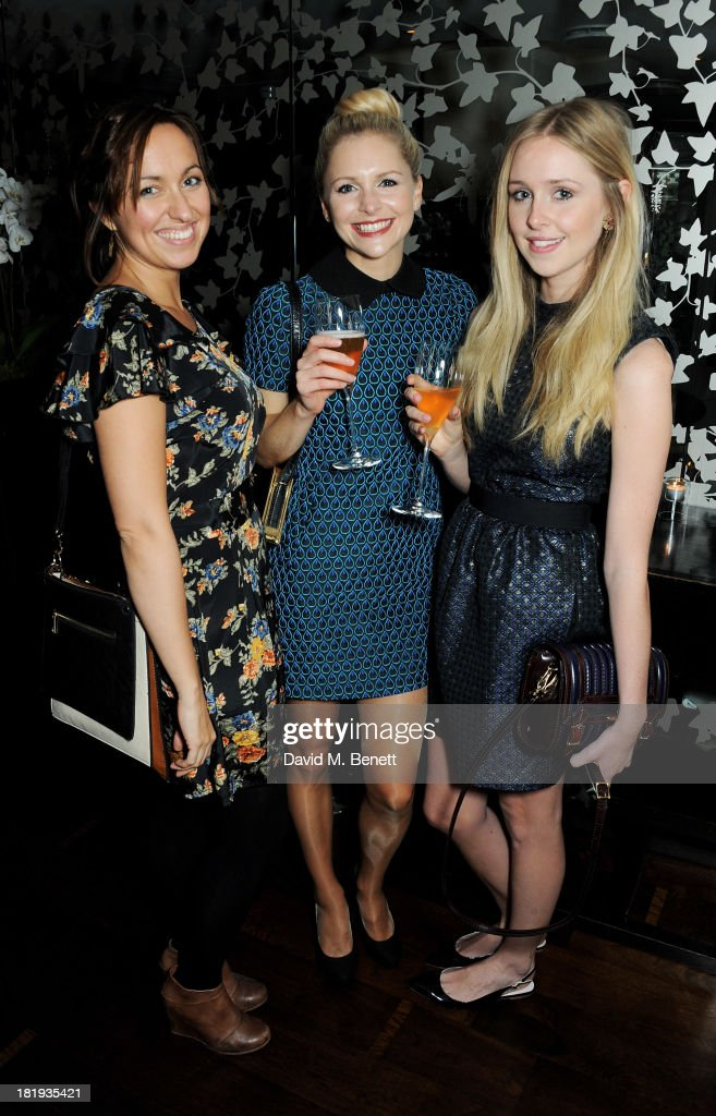 Kerry Howard, Miranda Hennessy and <a gi-track='captionPersonalityLinkClicked' href=/galleries/search?phrase=Diana+Vickers&family=editorial&specificpeople=5583865 ng-click='$event.stopPropagation()'>Diana Vickers</a> of the new Sky Living series 'Give Out Girls' attend the Sky Living rebrand dinner at the Greenhouse Restaurant on September 26, 2013 in London, England.