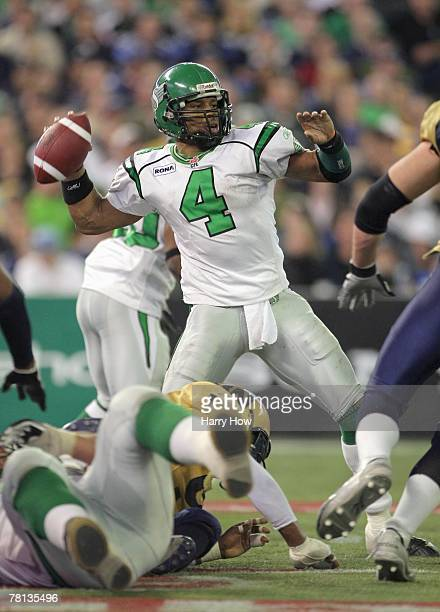 Kerry Joseph of the Saskatchewan Rough Riders passes in the pocket against the Winnipeg Blue Bombers during the third quarter of the 95th Grey Cup on...