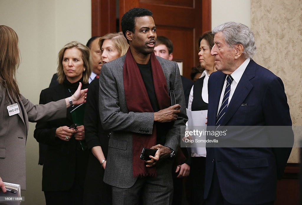Kerry Kennedy, daughter of gun violence victim and former Attorney General Robert F. Kennedy; actor Chris Rock; actor and playwright Anna Deavere Smith; and singer Tony Bennett arrive for a news conference hosted by Mayors Against Illegal Guns Director and the Law Center to Prevent Gun Violence at the U.S. Capitol February 6, 2013 in Washington, DC. The artists, activists and politicians called for manditory background check on all gun purchases among other restrictions.