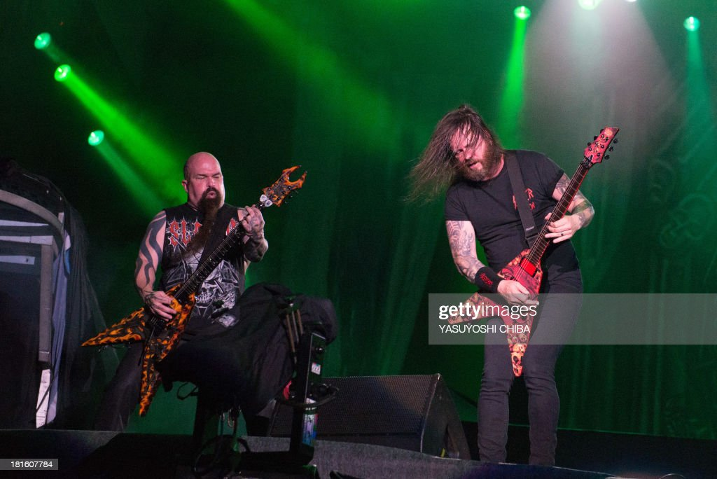 Kerry King (L) and Gary Holt of US thrash metal band Slayer perform during the final day of the Rock in Rio music festival in Rio de Janeiro, Brazil, on September 22, 2013.