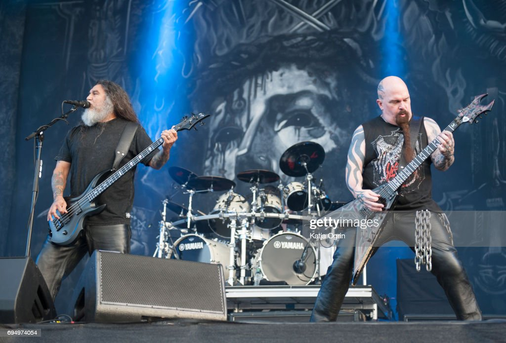 Kerry King and Tom Araya of Slayer performing live on Day 3 of Download Festival at Donington Park on June 11, 2017 in Castle Donington, UK.