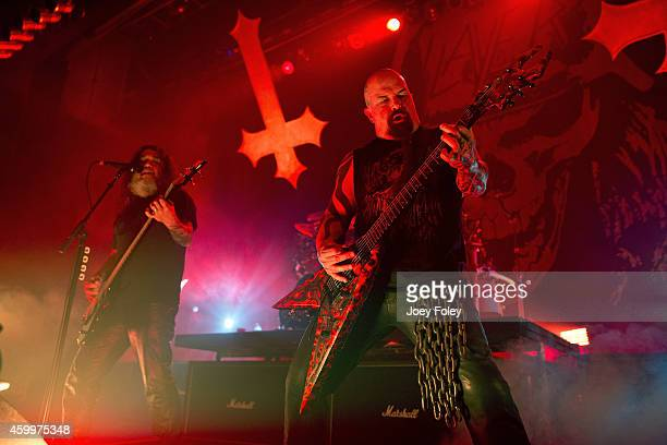 Kerry King and Tom Araya of Slayer performs live onstage at Egyptian Room at Old National Centre on December 4 2014 in Indianapolis Indiana