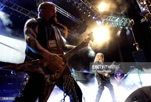 Kerry King Jeff Hanneman and Tom Araya of Slayer perform in support of the bands 'Christ Illusion' release at the Sleep Train Pavilion on August 23...
