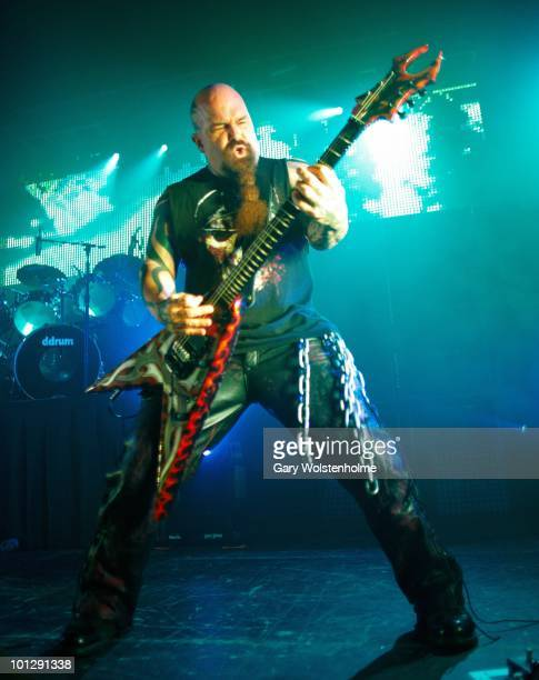 Kerry King of Slayer perform on stage at Manchester Academy on May 30 2010 in Manchester England