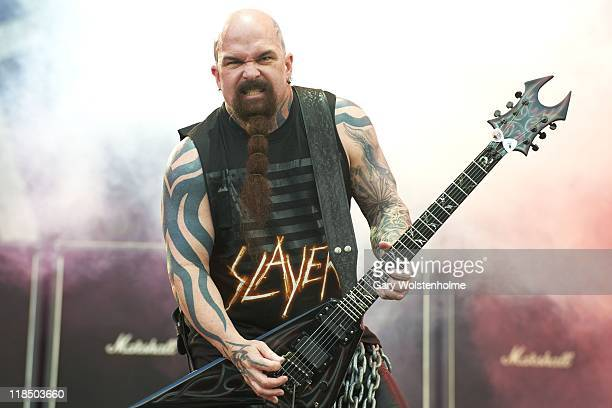 Kerry King of Slayer performs on stage during the first day of Sonisphere 2011at Knebworth House on July 8 2011 in Stevenage United Kingdom