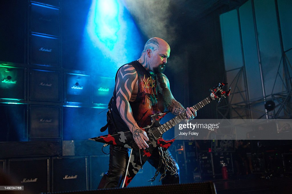 Kerry King of SLAYER performs onstage during the 2012 Rockstar Energy Drink Mayhem Festival at the Riverbend Music Center on July 24, 2012 in Cincinnati, Ohio.
