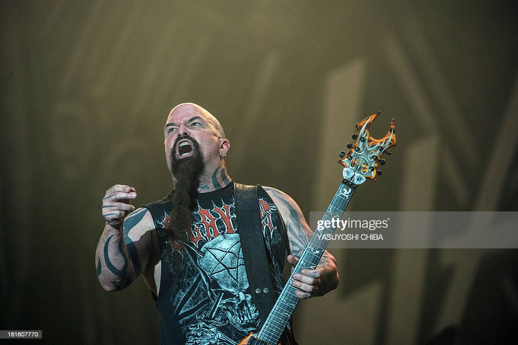 Kerry King of US thrash metal band Slayer performs during the final day of the Rock in Rio music festival in Rio de Janeiro, Brazil, on September 22, 2013.