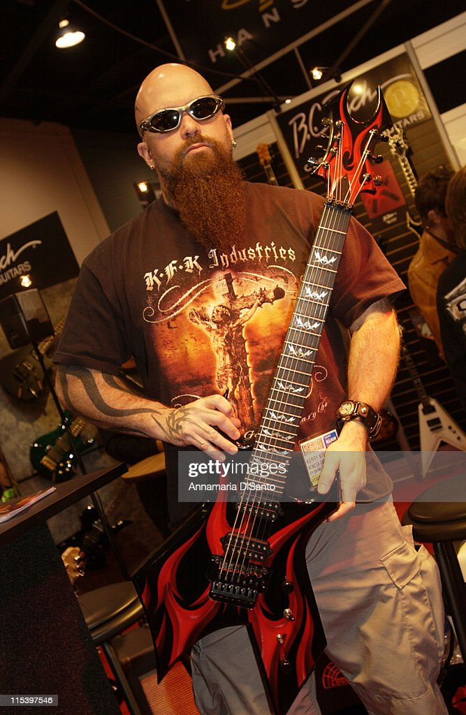 <a gi-track='captionPersonalityLinkClicked' href=/galleries/search?phrase=Kerry+King&family=editorial&specificpeople=236089 ng-click='$event.stopPropagation()'>Kerry King</a>, <a gi-track='captionPersonalityLinkClicked' href=/galleries/search?phrase=Slayer+-+Band&family=editorial&specificpeople=689789 ng-click='$event.stopPropagation()'>Slayer</a> during NAMM Music Show 2 at Anaheim Convention Center in Anaheim, CA, United States.