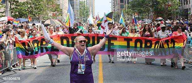 TORONTO ON JUNE 29 Kerry marshals the front of the parade along Bloor Street during the WorldPride 2014 parade hosted by Pride Toronto along Yonge...