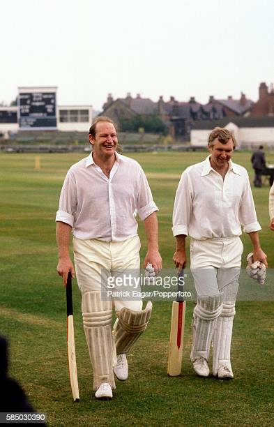Kerry Packer walks off the field during a match between English journalists and Australian journalists at Harrogate Yorkshire circa June 1977