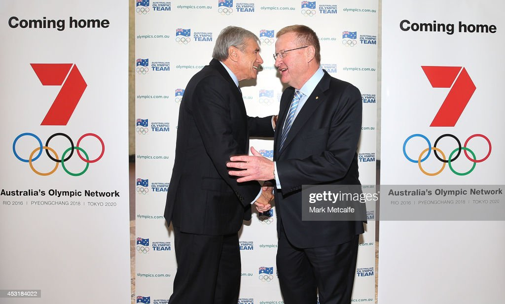 Kerry Stokes, Chairman of Seven West Media, shaked hands with AOC President <a gi-track='captionPersonalityLinkClicked' href=/galleries/search?phrase=John+Coates&family=editorial&specificpeople=233445 ng-click='$event.stopPropagation()'>John Coates</a> during the Two Years To Go countdown ahead of the 2016 Rio Olympic Games at Museum of Contemporary Art on August 5, 2014 in Sydney, Australia.