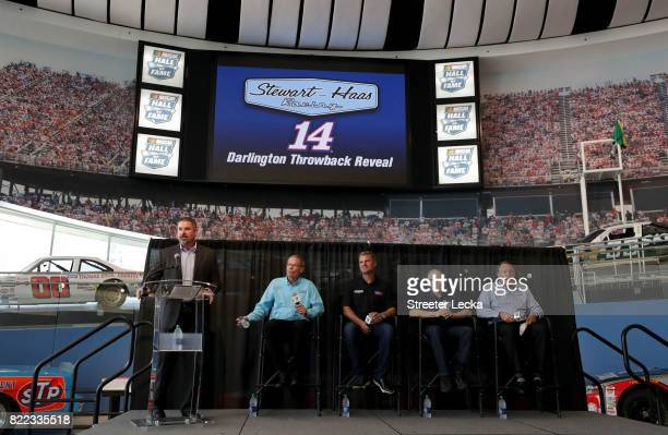Kerry Tharp Darlington Raceway President Clint Bowyer driver of the Ford Fusion for StewartHaas Racing Mark Martin NASCAR Hall of Famer and Winston...