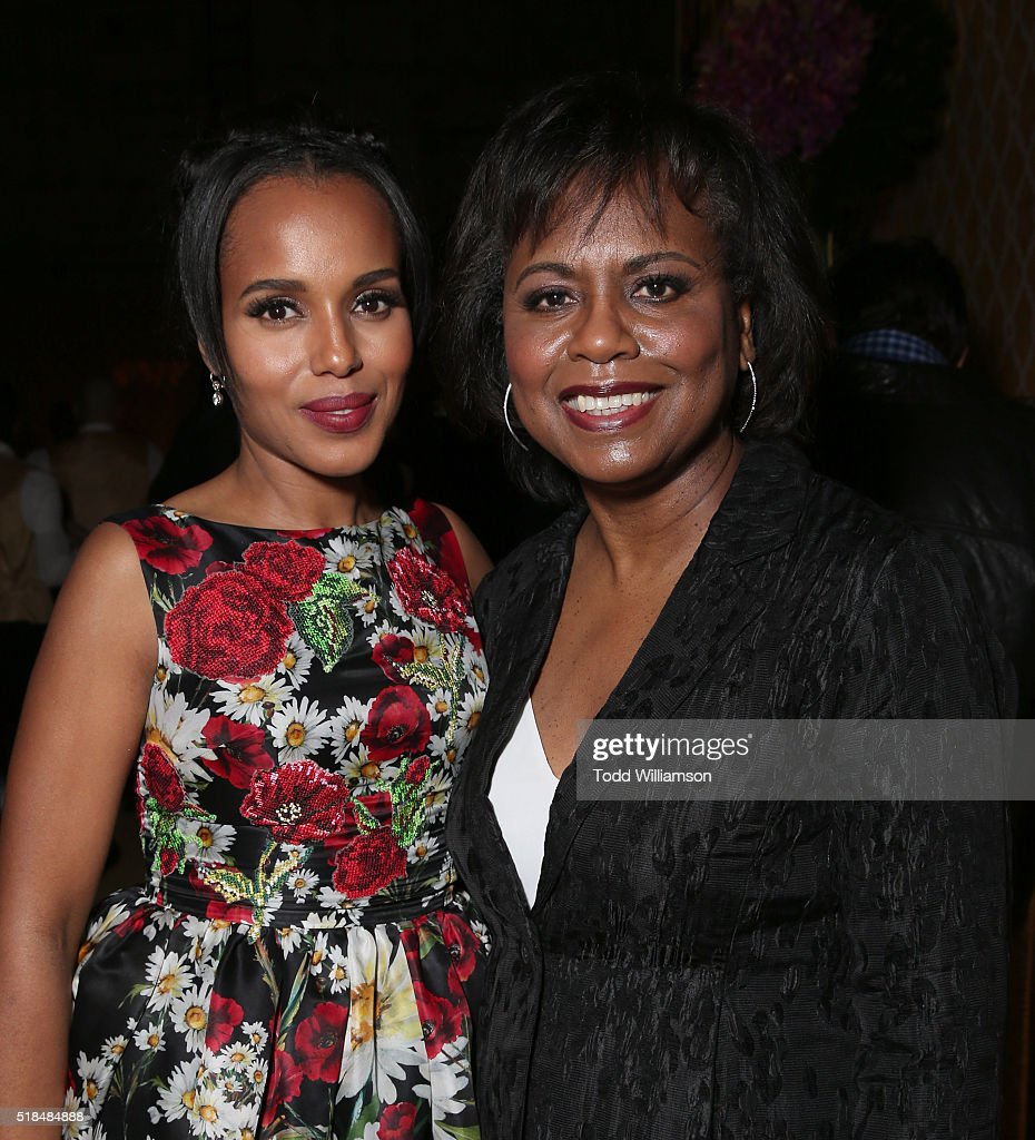 Kerry Washington and Anita Hill attend the after party for the premiere of HBO Films' 'Confirmation' at Paramount Studios on March 31 2016 in...