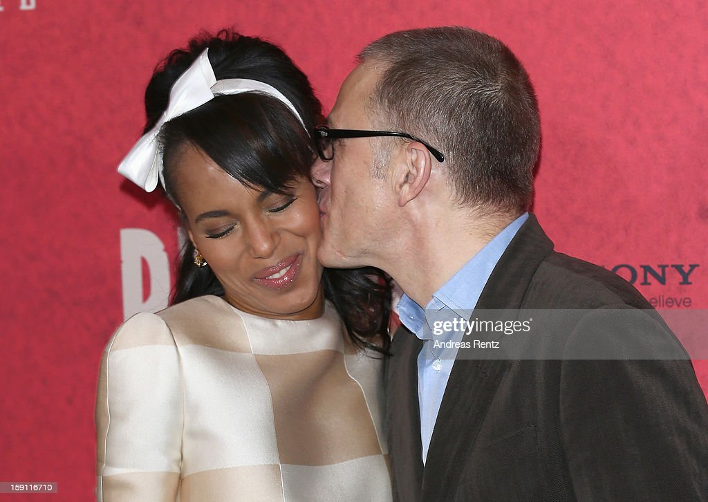 Kerry Washington and Christoph Waltz attend 'Django Unchained' Berlin Photocall at Hotel de Rome on January 8, 2013 in Berlin, Germany.