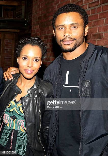 Kerry Washington and husband Nnamdi Asomugha pose backstage at the hit musical 'Hamilton' on Broadway at The Richard Rogers Theater on October 1 2015...
