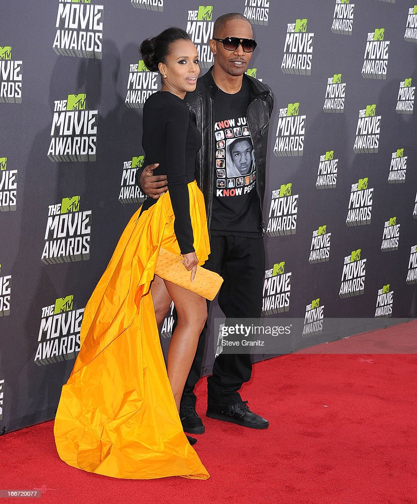 Kerry Washington and Jamie Foxx arrives at the 2013 MTV Movie Awards at Sony Pictures Studios on April 14, 2013 in Culver City, California.