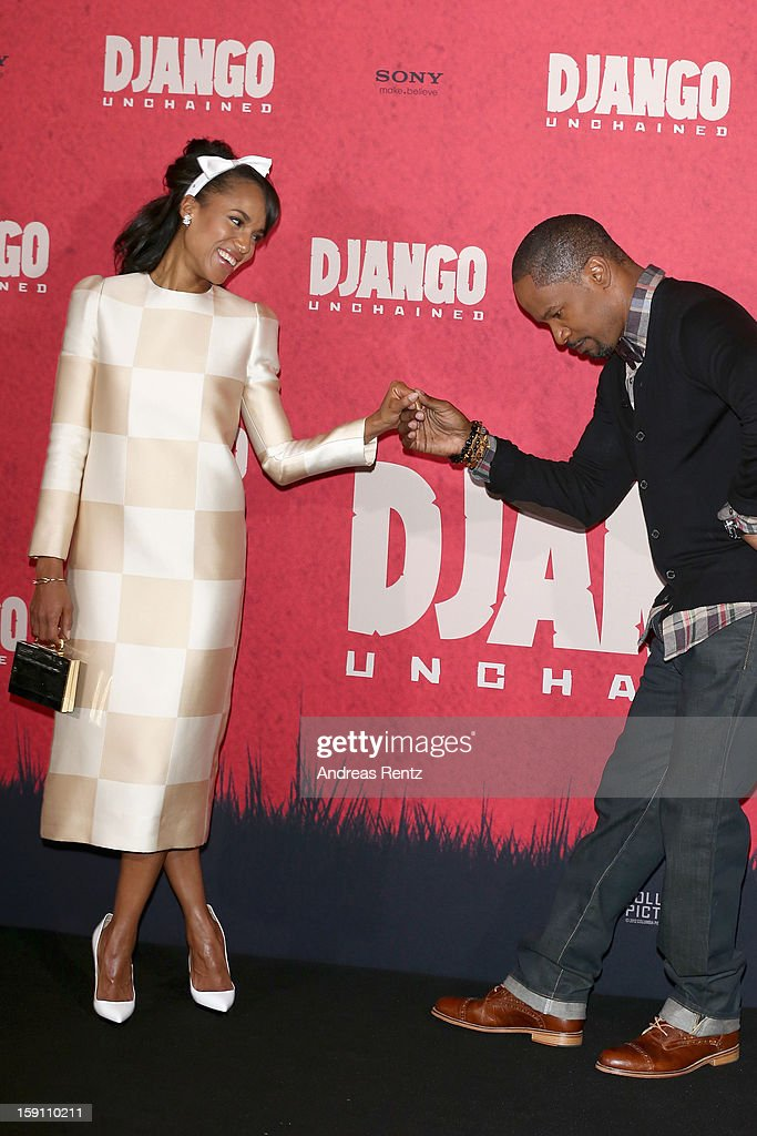 Kerry Washington and Jamie Foxx attend 'Django Unchained' Berlin Photocall at Hotel de Rome on January 8, 2013 in Berlin, Germany.