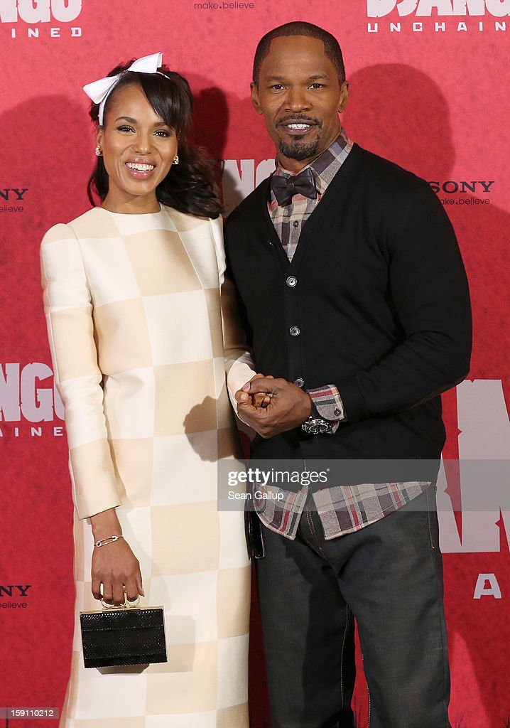 <a gi-track='captionPersonalityLinkClicked' href=/galleries/search?phrase=Kerry+Washington&family=editorial&specificpeople=201534 ng-click='$event.stopPropagation()'>Kerry Washington</a> and <a gi-track='captionPersonalityLinkClicked' href=/galleries/search?phrase=Jamie+Foxx&family=editorial&specificpeople=201715 ng-click='$event.stopPropagation()'>Jamie Foxx</a> attend 'Django Unchained' Berlin Photocall at Hotel de Rome on January 8, 2013 in Berlin, Germany.