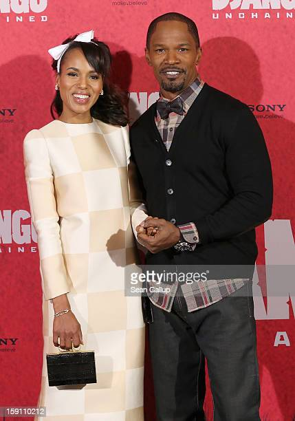 Kerry Washington and Jamie Foxx attend 'Django Unchained' Berlin Photocall at Hotel de Rome on January 8 2013 in Berlin Germany