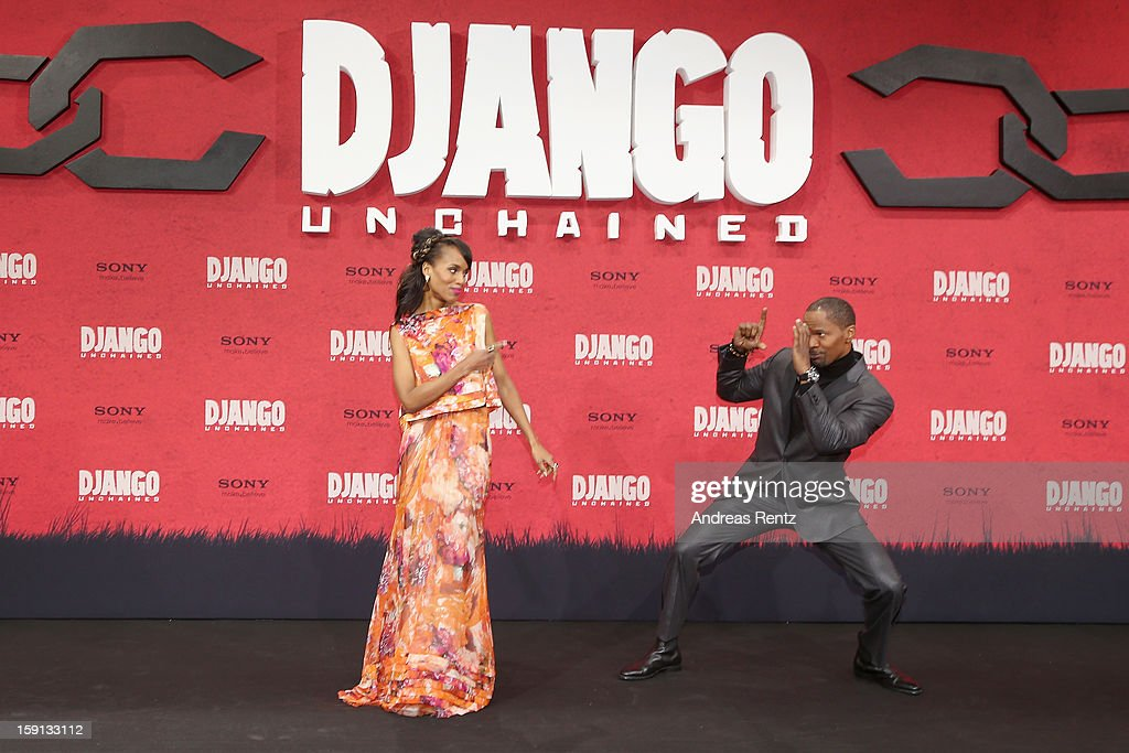 <a gi-track='captionPersonalityLinkClicked' href=/galleries/search?phrase=Kerry+Washington&family=editorial&specificpeople=201534 ng-click='$event.stopPropagation()'>Kerry Washington</a> and <a gi-track='captionPersonalityLinkClicked' href=/galleries/search?phrase=Jamie+Foxx&family=editorial&specificpeople=201715 ng-click='$event.stopPropagation()'>Jamie Foxx</a> attend 'Django Unchained' Berlin Premiere at Cinestar Potsdamer Platz on January 8, 2013 in Berlin, Germany.