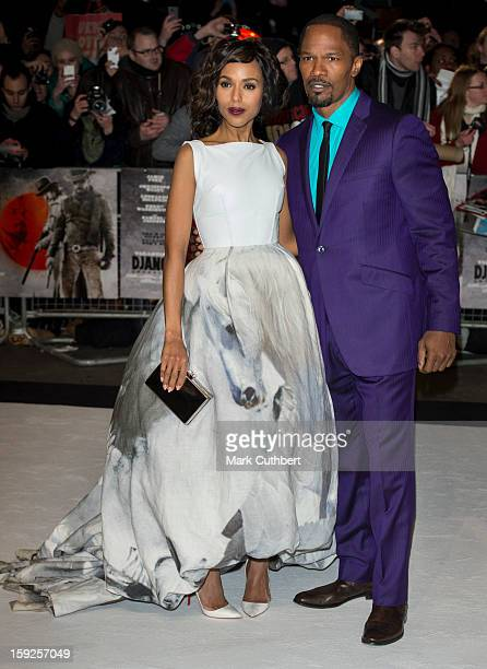 Kerry Washington and Jamie Foxx attend the UK premiere of 'Django Unchained' at Empire Leicester Square on January 10 2013 in London England
