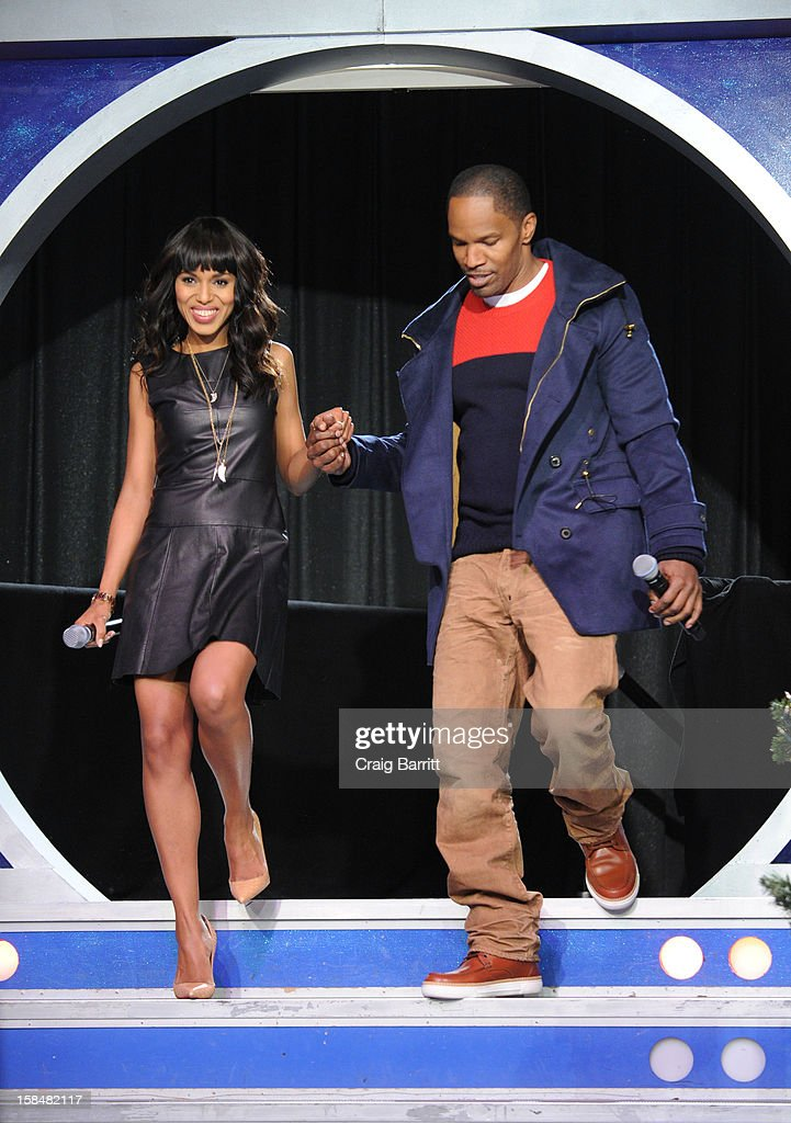 <a gi-track='captionPersonalityLinkClicked' href=/galleries/search?phrase=Kerry+Washington&family=editorial&specificpeople=201534 ng-click='$event.stopPropagation()'>Kerry Washington</a> and <a gi-track='captionPersonalityLinkClicked' href=/galleries/search?phrase=Jamie+Foxx&family=editorial&specificpeople=201715 ng-click='$event.stopPropagation()'>Jamie Foxx</a> (R) visit BET's '106 & Park' at 106 & Park Studio on December 14, 2012 in New York City.