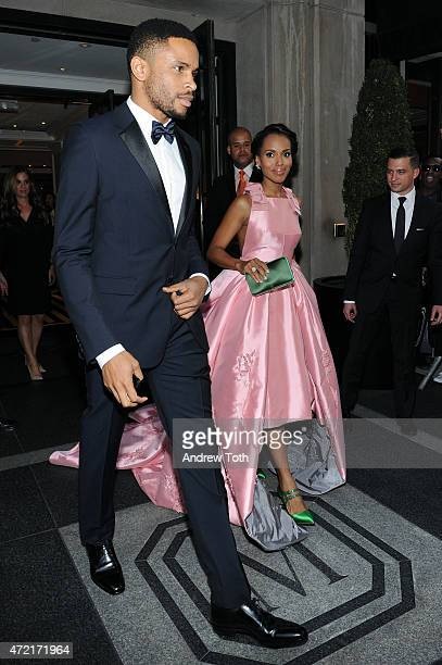 Kerry Washington and Nnamdi Asomugha depart The Mark Hotel for the Met Gala at the Metropolitan Museum of Art on May 4 2015 in New York City