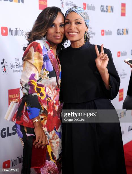 Kerry Washington and Rosario Dawson arrive at the 2017 GLSEN Respect Awards at the Beverly Wilshire Four Seasons Hotel on October 20 2017 in Beverly...