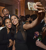 Kerry Washington and Rosario Dawson attend the Bloomberg Vanity Fair cocktail reception following the 2015 WHCA Dinner at the residence of the French...