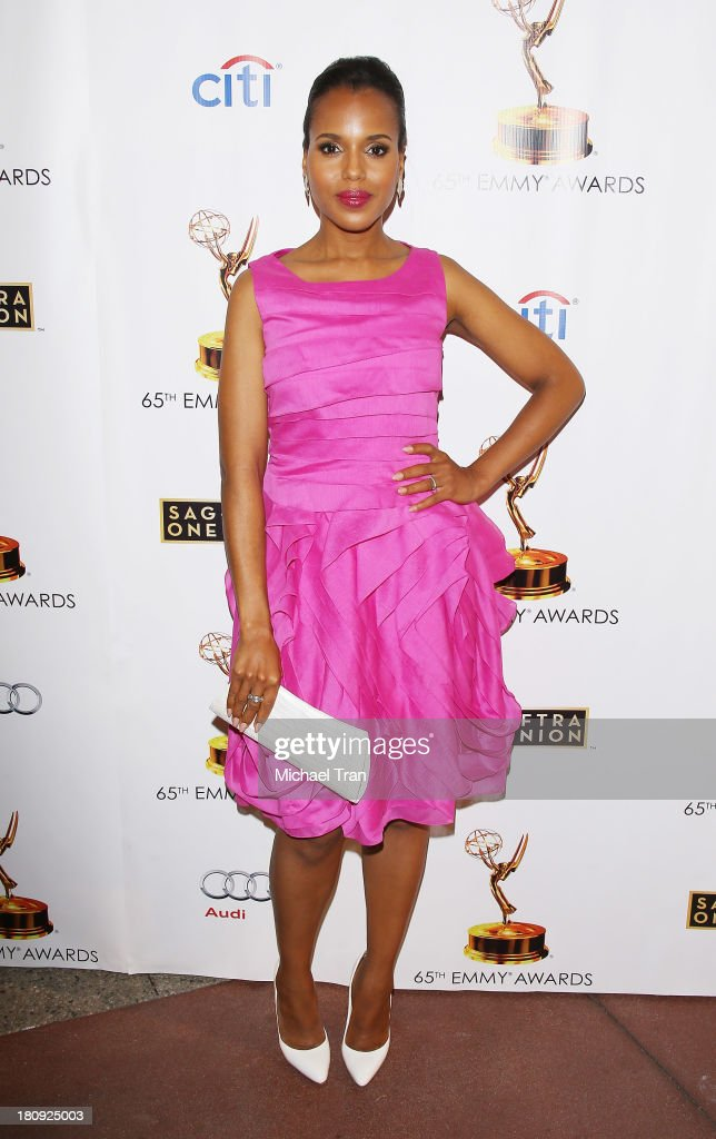 <a gi-track='captionPersonalityLinkClicked' href=/galleries/search?phrase=Kerry+Washington&family=editorial&specificpeople=201534 ng-click='$event.stopPropagation()'>Kerry Washington</a> arrives at The Academy of Television Arts & Sciences and SAG-AFTRA celebrate The 65th Primetime Emmy Award Nominees held at Academy of Television Arts & Sciences on September 17, 2013 in North Hollywood, California.