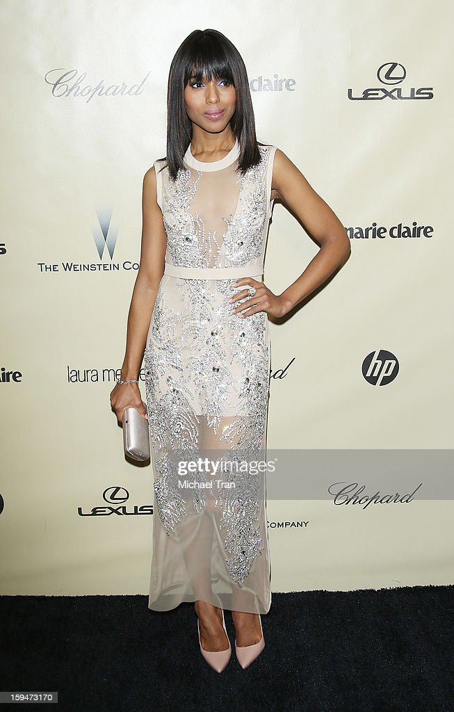 <a gi-track='captionPersonalityLinkClicked' href=/galleries/search?phrase=Kerry+Washington&family=editorial&specificpeople=201534 ng-click='$event.stopPropagation()'>Kerry Washington</a> arrives at The Weinstein Company's 2013 Golden Globes after party held at The Beverly Hilton Hotel on January 13, 2013 in Beverly Hills, California.