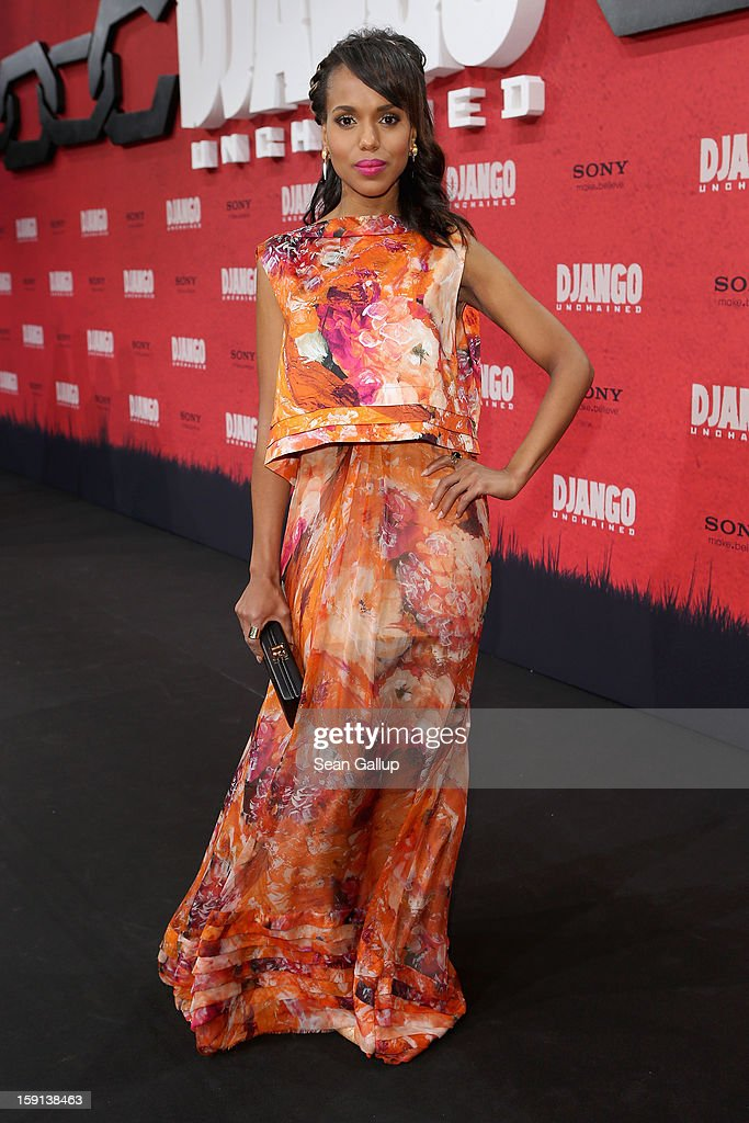 <a gi-track='captionPersonalityLinkClicked' href=/galleries/search?phrase=Kerry+Washington&family=editorial&specificpeople=201534 ng-click='$event.stopPropagation()'>Kerry Washington</a> attends 'Django Unchained' Berlin Premiere at Cinestar Potsdamer Platz on January 8, 2013 in Berlin, Germany.