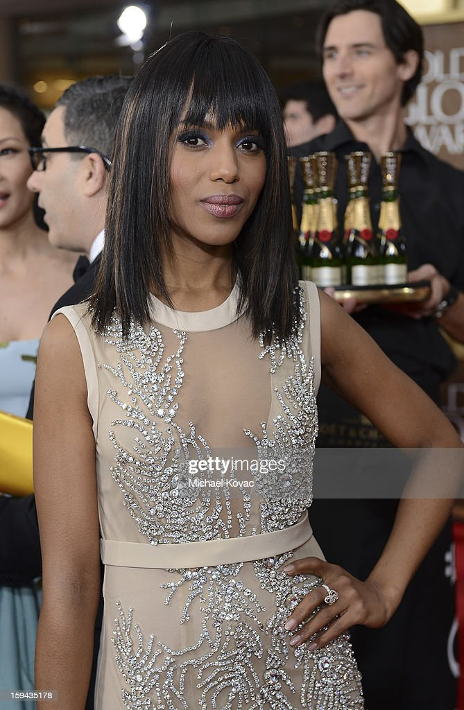 Kerry Washington attends Moet & Chandon At The 70th Annual Golden Globe Awards Red Carpet at The Beverly Hilton Hotel on January 13, 2013 in Beverly Hills, California.