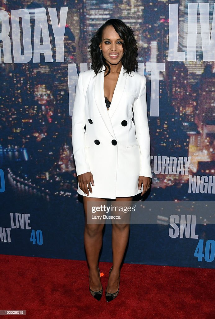 <a gi-track='captionPersonalityLinkClicked' href=/galleries/search?phrase=Kerry+Washington&family=editorial&specificpeople=201534 ng-click='$event.stopPropagation()'>Kerry Washington</a> attends SNL 40th Anniversary Celebration at Rockefeller Plaza on February 15, 2015 in New York City.