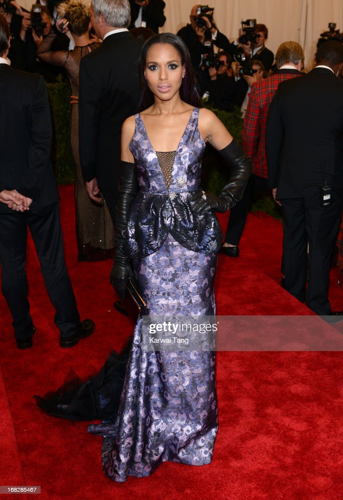 <a gi-track='captionPersonalityLinkClicked' href=/galleries/search?phrase=Kerry+Washington&family=editorial&specificpeople=201534 ng-click='$event.stopPropagation()'>Kerry Washington</a> attends the Costume Institute Gala for the 'PUNK: Chaos to Couture' exhibition at the Metropolitan Museum of Art on May 6, 2013 in New York City.