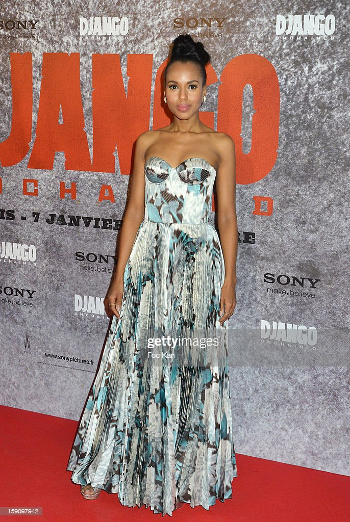 <a gi-track='captionPersonalityLinkClicked' href=/galleries/search?phrase=Kerry+Washington&family=editorial&specificpeople=201534 ng-click='$event.stopPropagation()'>Kerry Washington</a> attends the 'Django Unchained' Paris premiere red carpet arrival at Le Grand Rex on January 7, 2013 in Paris, France.