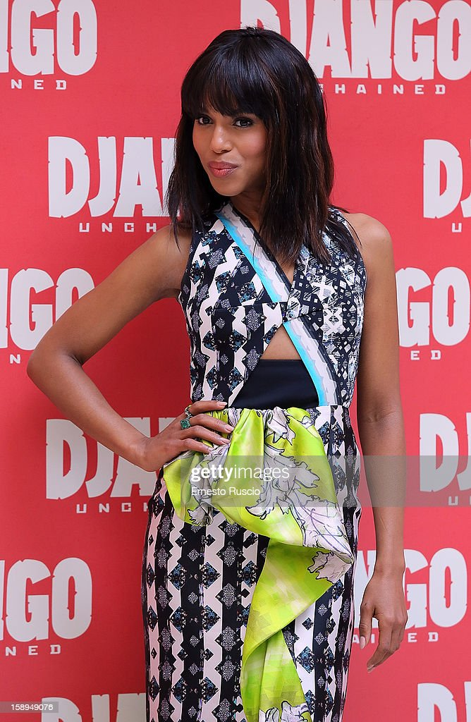 <a gi-track='captionPersonalityLinkClicked' href=/galleries/search?phrase=Kerry+Washington&family=editorial&specificpeople=201534 ng-click='$event.stopPropagation()'>Kerry Washington</a> attends the 'Django Unchained' photocall at the Hassler Hotel on January 4, 2013 in Rome, Italy.