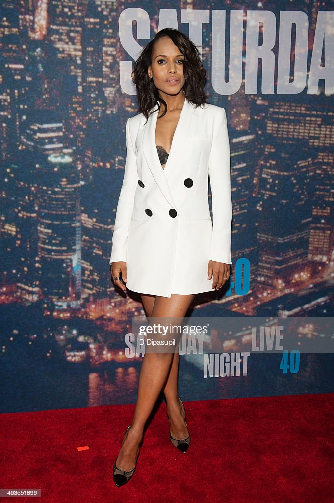 <a gi-track='captionPersonalityLinkClicked' href=/galleries/search?phrase=Kerry+Washington&family=editorial&specificpeople=201534 ng-click='$event.stopPropagation()'>Kerry Washington</a> attends the SNL 40th Anniversary Celebration at Rockefeller Plaza on February 15, 2015 in New York City.