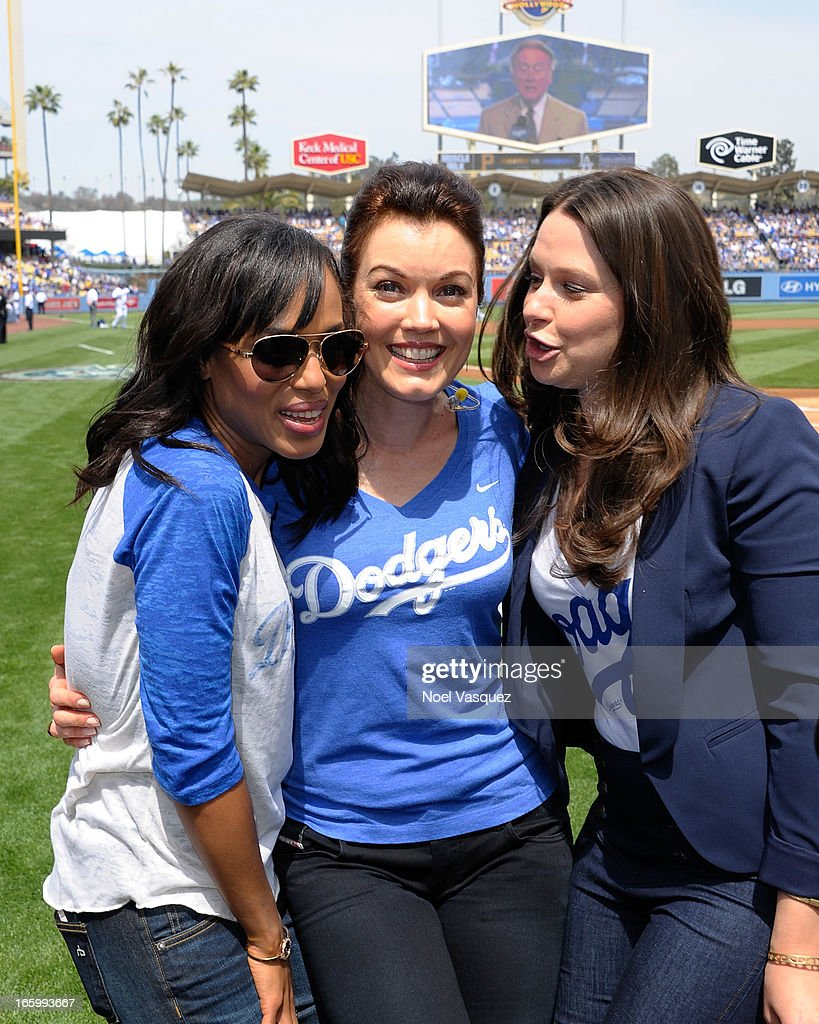Kerry Washington, Bellamy Young and Katie Lowes from the television show 'Scandal' attend a baseball game between the Pittsburgh Pirates and the Los Angeles Dodgers at Dodger Stadium on April 7, 2013 in Los Angeles, California.